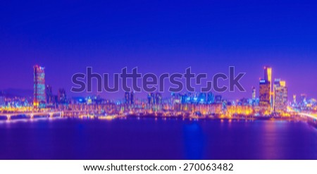 Korea cityscape at night with blur motion,Blurred background.