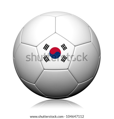 Korea Flag Pattern 3d rendering of a soccer ball