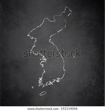 Korea map blackboard chalkboard raster