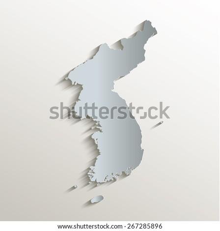 Korea map white blue card paper 3D raster - stock photo