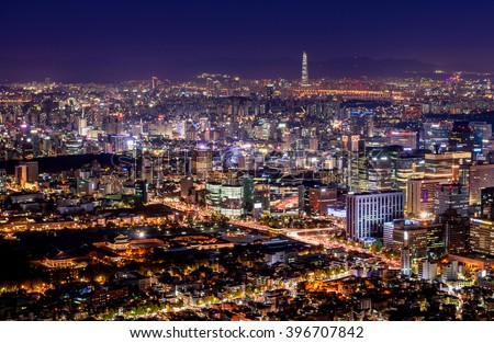 Korea,Seoul city skyline at night.