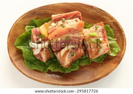 Korean cuisine, homemade marinated sparerib for Yakiniku image - stock photo