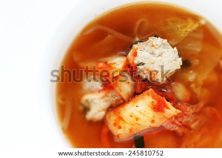 korean cuisine, Jjigae chicken meat ball and kimchi Hot pot - stock photo