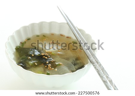 Korean cuisine, radish and wakame seaweed soup - stock photo
