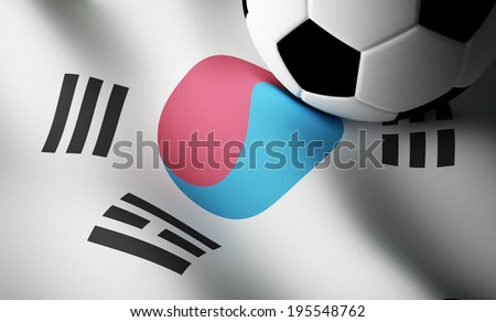 Korean flag, soccer ball