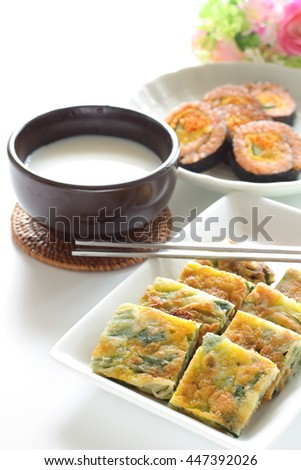 Korean food, jijim and Makgeolli  - stock photo