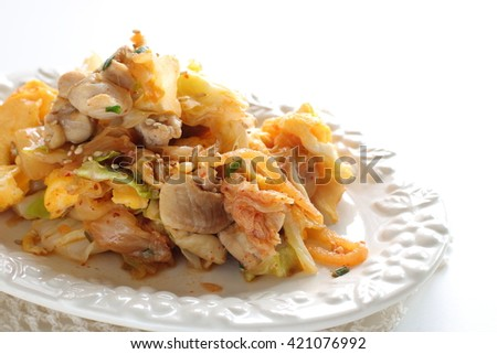 korean food, pickled cabbage and chicken stir fried