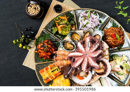Korean food, Seafood dishes - stock photo