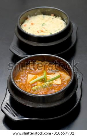 korean kimchi soup bowl - stock photo