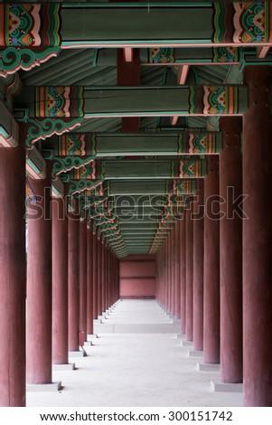 korean palace,korean traditional house, wall - stock photo