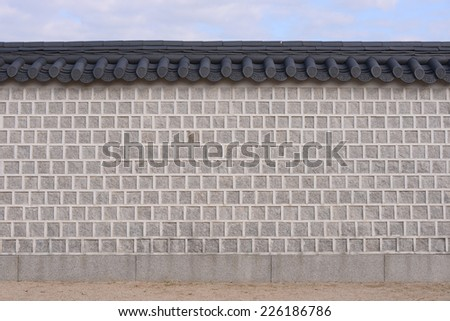 Korean style wall with roof decorative - stock photo