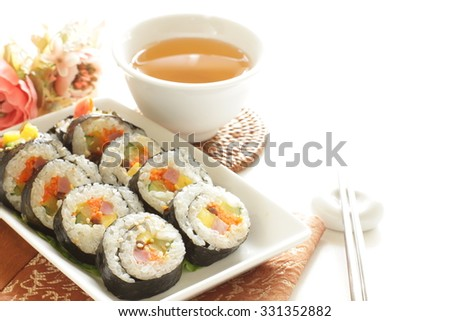 Korean sushi roll, Gimbap - stock photo