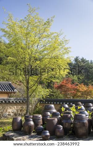 korean traditional crocks flatform at back yard - stock photo
