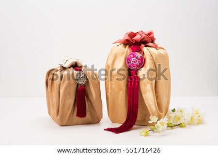 Korean traditional gift box on Silk background and color