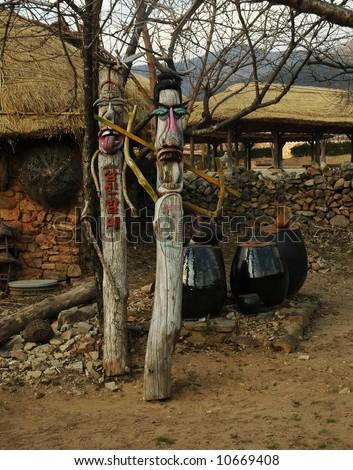 korean traditional totem pole - stock photo