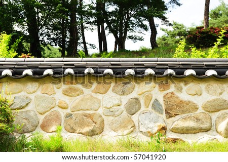 korean traditional wall - stock photo