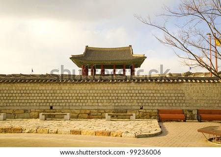 korean traditional wall - stock photo