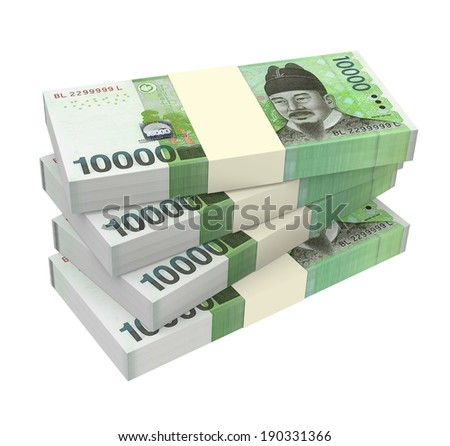 Korean won money isolated on white background.  Computer generated 3D photo rendering  - stock photo