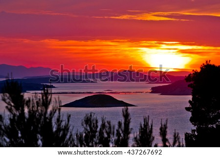 Kornati national park archipelago sunset view, Dalmatia, Croatia - stock photo