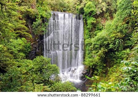 Korokoro Falls on Waikaremoana Great Walk, New Zealand - stock photo