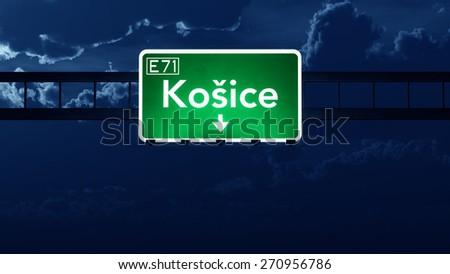 Kosice Slovakia Highway Road Sign at Night 3D artwork - stock photo