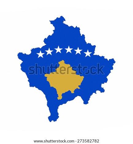 kosovo country flag map shape national symbol - stock photo