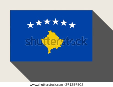 Kosovo flag in flat web design style. - stock photo