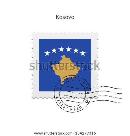Kosovo Flag Postage Stamp on white background. See also vector version.