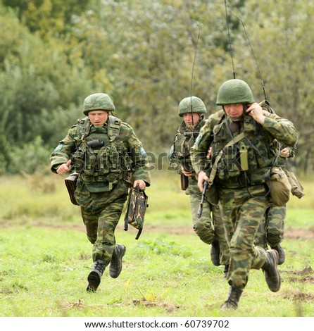KOSTROMA REGION - AUGUST 26: Paratroopers-saboteurs on the Command post exercises with 98-th Guards Airborne Division, August 26, 2010 in Kostroma region, Russia. - stock photo