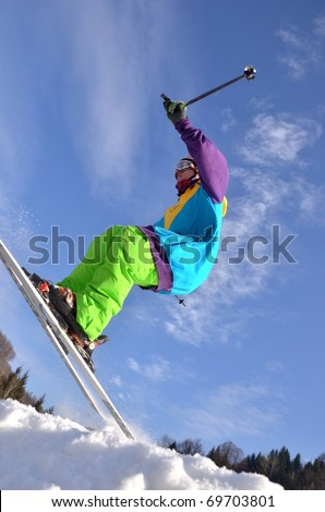 KOSUTKA, SLOVAKIA - JANUARY 23: Zuzka Novosedlakova of Slovak republic participates in the Big air January 23, 2011 in Kosutka, Slovakia.