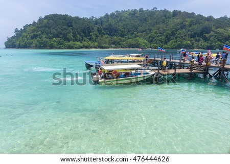 KOTA KINABALU, MALAYSIA - 29/08/2016: tourists were waiting at the dock to board the boat to the next island
