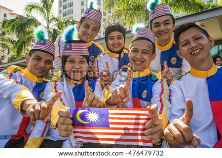Kota Kinabalu Sabah Malaysia - August 31, 2016: Participants of National Day Parade in Kota Kinabalu. Malaysian are celebrating 59th anniversary of independence on August 31, 2016.