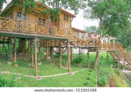 tree house resort. KOTA KINABALU,SABAH,MALAYSIA-January 8,2017: Borneo Tree House Resort