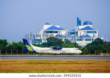 Kota KInabalu,Sabah-March 14,2016: Maswing Airlines ATR-72-500 landed at Kota Kinabalu International Airport.Its a twin-engined turboprop-powered airliner with a capacity of maximum 74 passengers