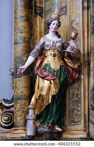 KOTARI, CROATIA - SEPTEMBER 16: Statue of Saint Barbara on the Saint Mary altar in the church of Saint Leonard of Noblac in Kotari, Croatia on September 16, 2015. - stock photo