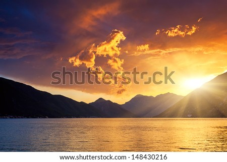 Kotor bay at sunset. Overcast sky. Montenegro, Balkans, Adriatic sea, Europe. Beauty world - stock photo
