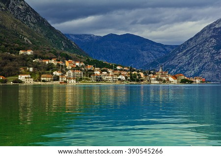 Kotor Bay in a thunderstorm, Montenegro - stock photo