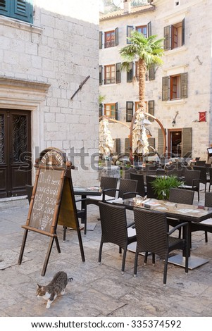 Kotor, Montenegro, October, 30, 2015: Cafe in the old town of Kotor, Montenegro