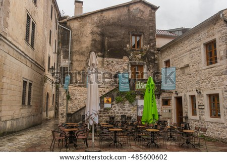 KOTOR, MONTENEGRO, - OCTOBER 10, 2015: Old street cafe in Stari Grad