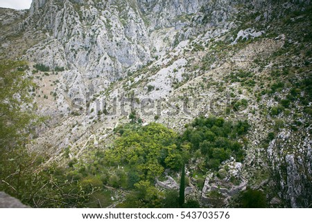 Kotor, Montenegro - October 9, 2016: Stone ruins of the top of Kotor, Montenegro fortress, a UNESCO heritage site since 1979.