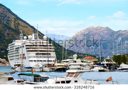 KOTOR, MONTENEGRO - SEPTEMBER 21, 2015: Largest cruise ship in the Bay of Kotor, Montenegro