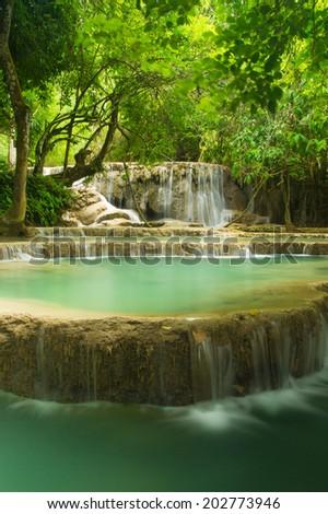Kouangxi Water Fall, Luang Prabang, Lao - stock photo