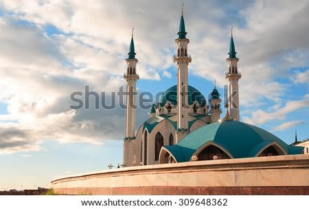 Koul-Sharif mosque in Kazan kremlin against blue sky with clouds,Russia, Tatarstan - stock photo