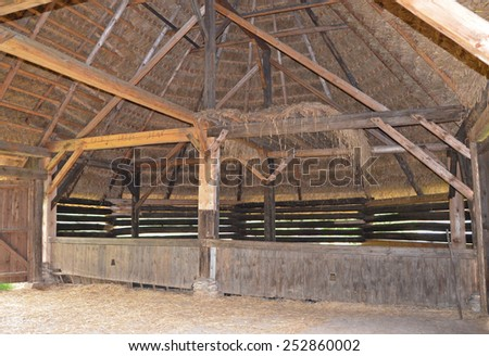 KOURIM - MAY 24: Original interior of traditional polygonal barn from the 17th century, Czech republic. Open-air museum of folk architecture, Kourim. May 24, 2014 - stock photo