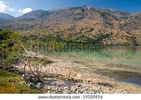 Kournas lake on Crete, Greece is the only freshwater lake on the island - stock photo