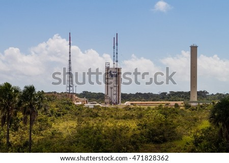 KOUROU, FRENCH GUIANA - AUGUST 4, 2015: Ariane Launch Area 3, launch pad of Ariane 5 rockets, at Centre Spatial Guyanais (Guiana Space Centre) in Kourou, French Guiana