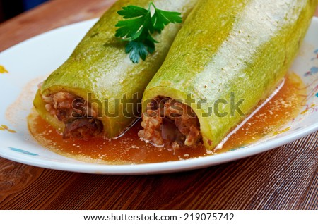 Kousa mahshi  - zucchini stuffed with rice and meat.s made in, Egypt, Syria, Lebanon, Palestine, Iraq, Israel, Jordan, and Cyprus. - stock photo