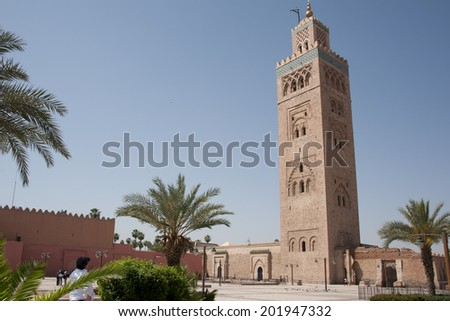 KOUTOUBIA MOSQUE, MARRAKECH, MOROCCO. The largest mosque of Marrakech in the daytime