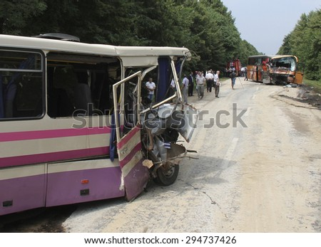 KOVEL, UKRAINE - JULY 11: Scene of bus crash where nine Ukrainian, Belarusian and Bulgarian Tourists were died and as many as 30 others were injured July 11, 2013 just outside Kovel, Ukraine.