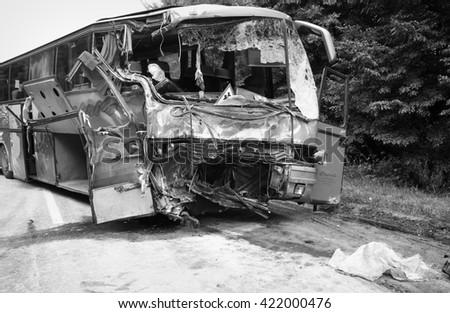 KOVEL, UKRAINE - JULY 11: Scene of bus crash where nine Ukrainian, Belarusian and Bulgarian Tourists were died and as many as 30 others were injured July 11, 2013 just outside Kovel, Ukraine. - stock photo